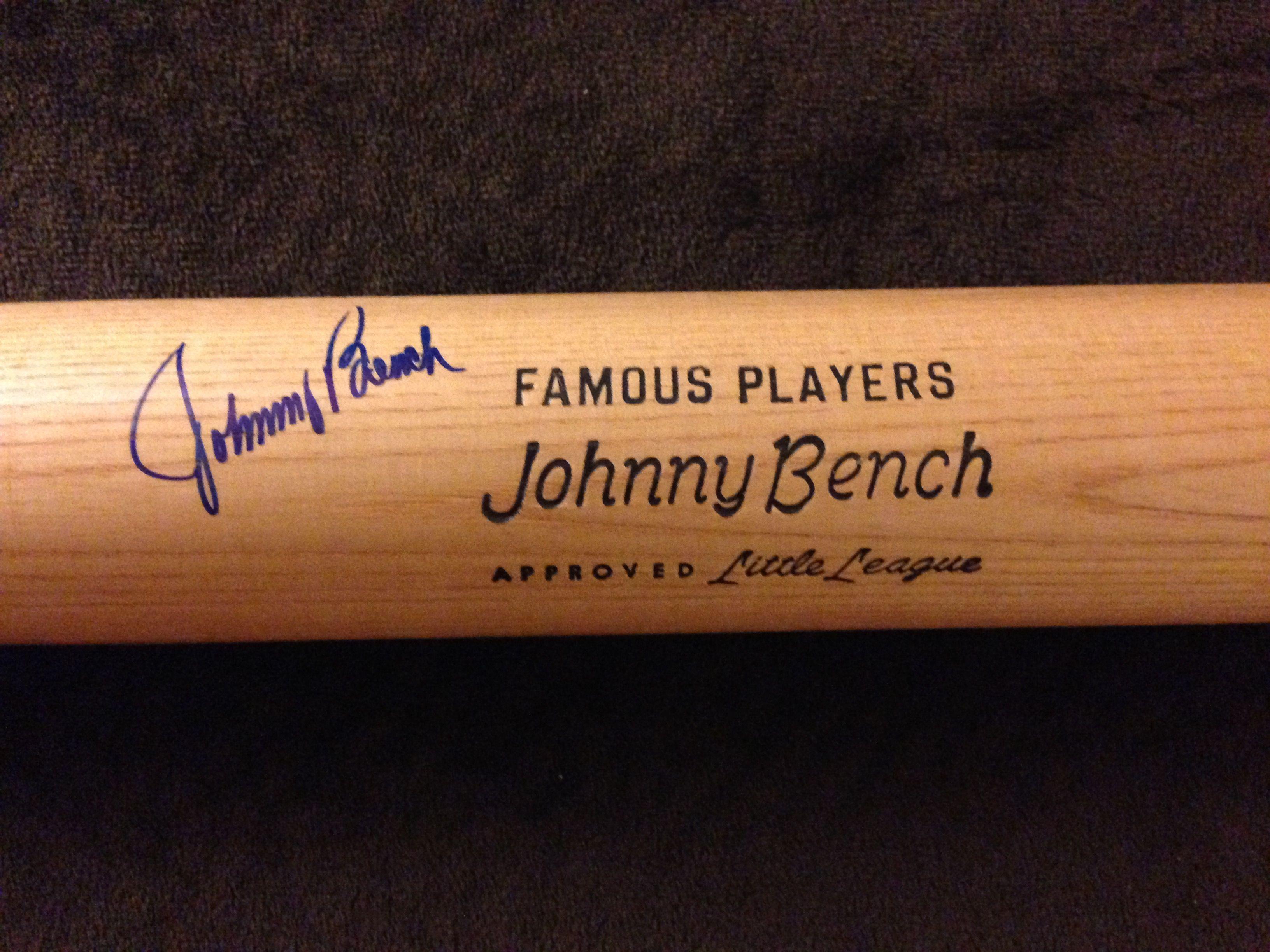 Lot Detail Johnny Bench Signed Little League Bat