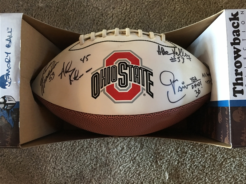 OHIO STATE BUCKEYES 4 SIGNED FOOTBALL w INSCIPTIONS