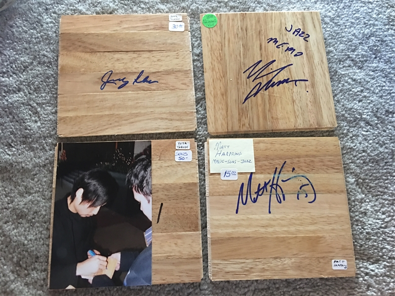 Lot of 4 SIGNED NBA PLAYERS FLOOR BOARDS