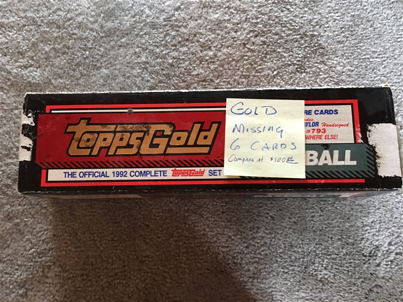 1992 TOPPS FACTORY GOLD SET - 6 Cards $100.00 WoW