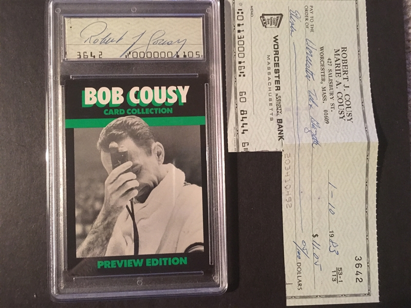 BOB COUSEY AUTOG from his Check in Slab $100 on eBay