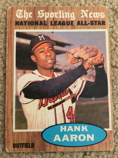 HANK AARON 1962 TOPPS ALL STAR #394 $50 - $150.00