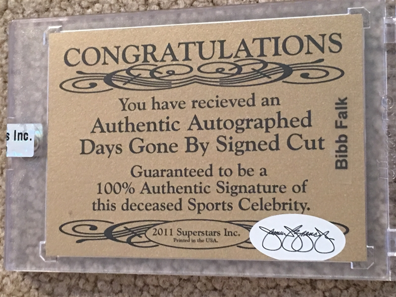 BIBB FALK CUT SIGNATURE JSA COA SSI SEALED 3/6 Read!!