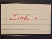 FRANK McCORMICK 1939 + 40 REDS WORLD SERIES SIGNED JSA COA