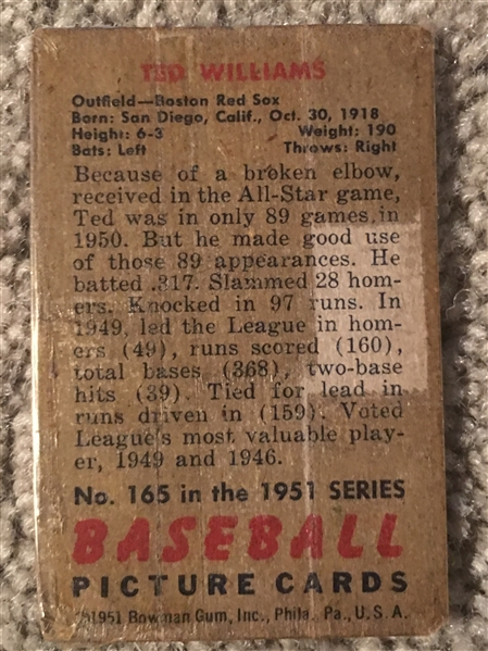1951 BOWMAN TED WILLIAMS TAPED $800 - $2400.00