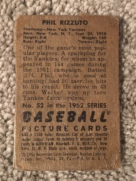 1952 BOWMAN PHIL RIZZUTO #52 Taped $150- $450.00