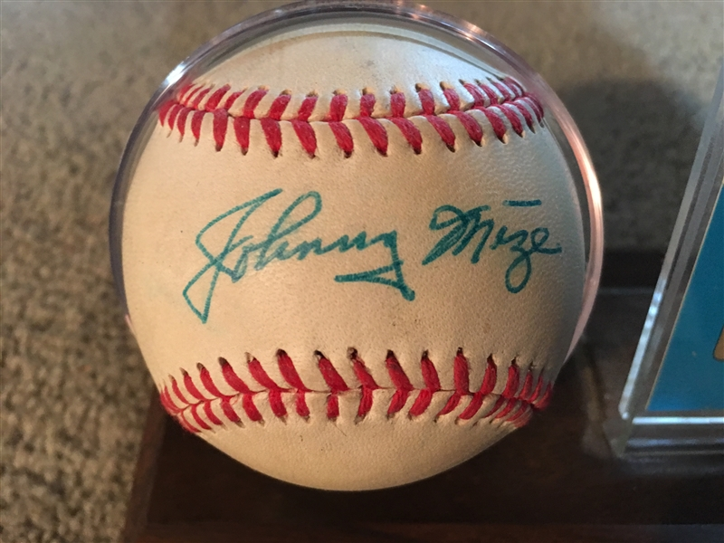 JOHNNY MIZE SIGNED MIZUNO BALL on DISPLAY HOFer
