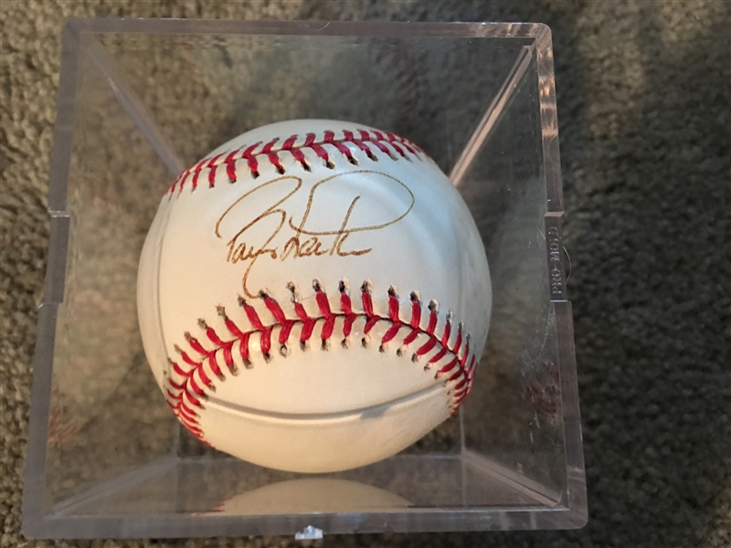 BARRY LARKIN SIGNED on $25 SNOW WHITE NL BALL in CUBE