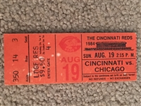 $$$ ROSE RETURNS to REDS with 3 HITS IN THIS GAME 1984 STUB