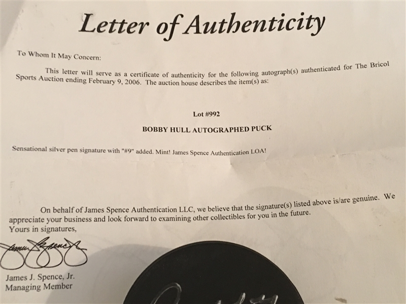BOBBY HULL SIGNED REAL PUCK with JSA COA Letter