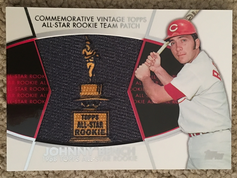 JOHNNY BENCH TOPPS A. S. ROOKIE REAL CLOTH PATCH