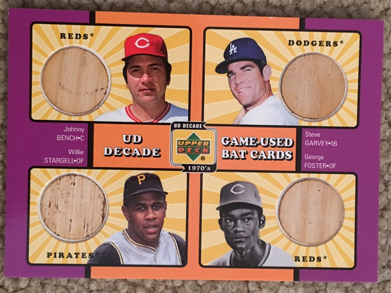 BENCH, FOSTER, STARGELL QUAD 4 GAME USED BATS