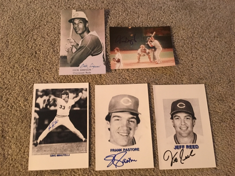 Lot of 5 AUTOGRAPHED CINCINNATI REDS PHOTOS