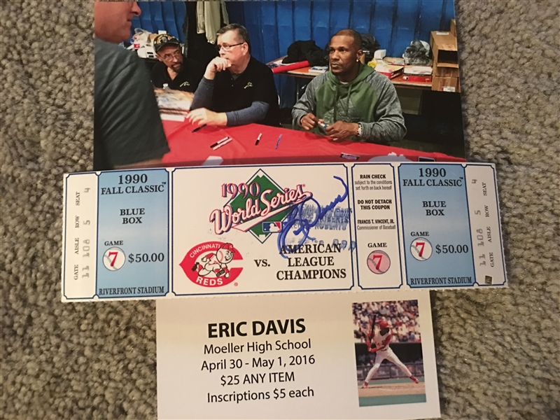 1990 WORLD SERIES TICKET MOELLER SIGNED by ERIC DAVIS