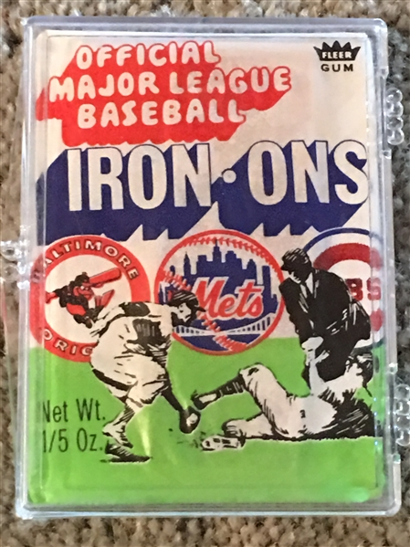 RARE 1968 . 52 YEARS OLD .. Unopened PACK BASEBALL IRON ONS $$$