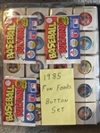 $$ 1985 FUN FOODS 133 COMPLETE BUTTON SET $$ with WRAPPER & C LIST in BINDER $$