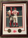 BENCH and SPARKY FRAMED 8x10 in 12x15 FRAME with 2 HOF MEDALLIONS Sweeeet