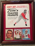AMAZING FINE NEVER SEEN THIS !! JOEY JAY AD PIECE + 3 REDS CARDS in 11x14 FRAME