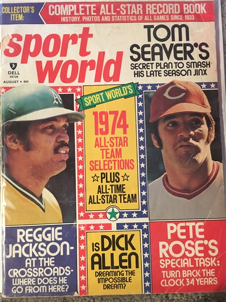 SPORT WORLD 1974 MAGAZINE PETE ROSE and REGGIE on COVER