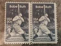 (2) BABE RUTH 20c STAMPS - RARE UNUSED ATTACHED VINTAGE STAMPS