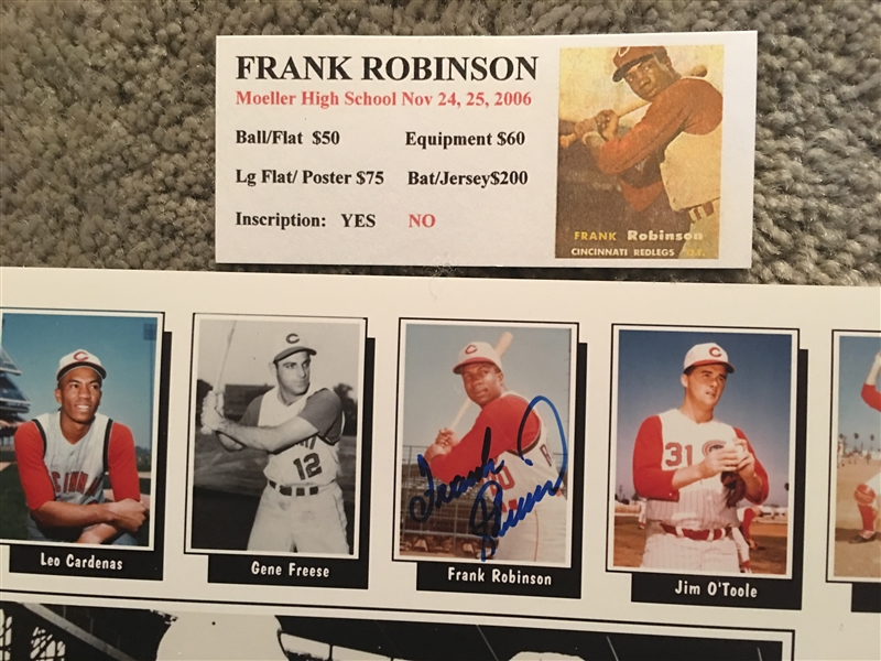 FRANK ROBINSON REDS HOF DECEASED MOELLER SIGNED 8x10 with SHOW TIX. Add More Autographs