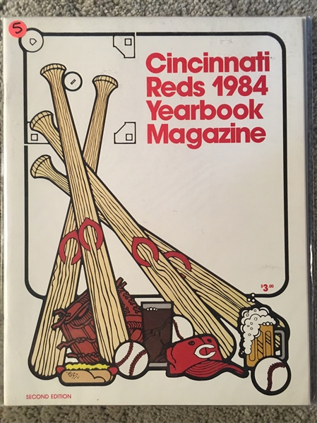 1984 CINCINNATI REDS YEARBOOK with Mint TEAM SET CARDS INSIDE
