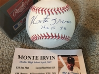 MONTE IRVIN HOF MOELLER SIGNED PURE WHITE MLB BALL with SHOW TICKET Negro Lg Too