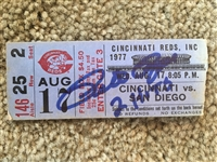 PETE ROSE 1977 SIGNED RIVERFRONT STADIUM TICKET - Pete Got 2 Hits in that Game !