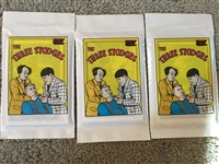 3 UNOPENED PACKS THREE STOOGES CARDS - GREAT VINTAGE GRAPHICS ON CARD WRAPPERS
