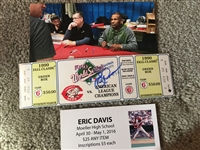 ERIC DAVIS MOELLER SIGNED 1990 WORLD SERIES FULL RARE YELLOW SEATS TICKET w  PHOTO