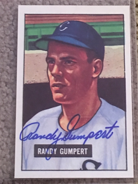 RANDY GUMPERT SIGNED 1951 BOWMAN He Gave Up Mickey Mantles 1st HR in 1951 Very Cool