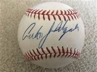CARLOS DELGADO SIGNED on $25 AMERICAN LG Spring Training GAME USED BASEBALL