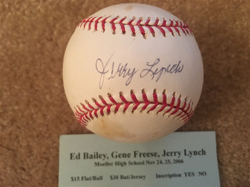 JERRY LYNCH 1960s REDS MOELLER SIGNED on MLB BASEBALL with SHOW TICKET $160 eBay