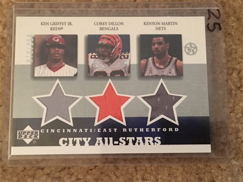 Coolest Card: CINCY ALL STARS: GRIFFEY, COREY DILLON, K MARTIN $$$ TRIPLE JERSEYS $$