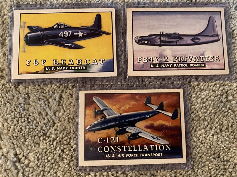 "(3) 1952 TOPPS ""WINGS"" WAR PLANE CARDS"